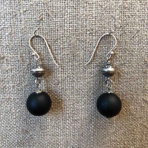 Matte onyx earrings