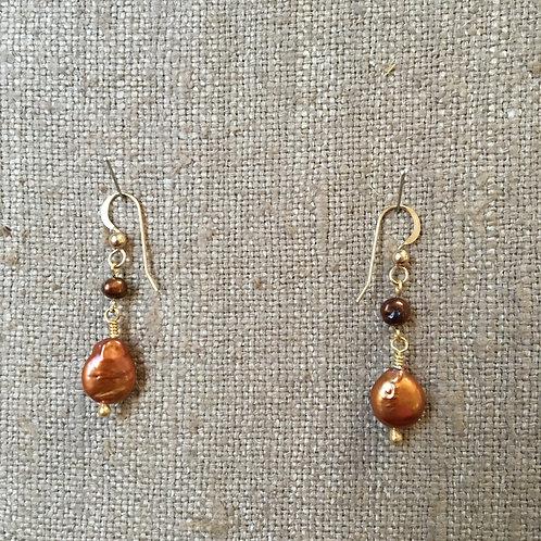 Copper Seed Pearl Earrings