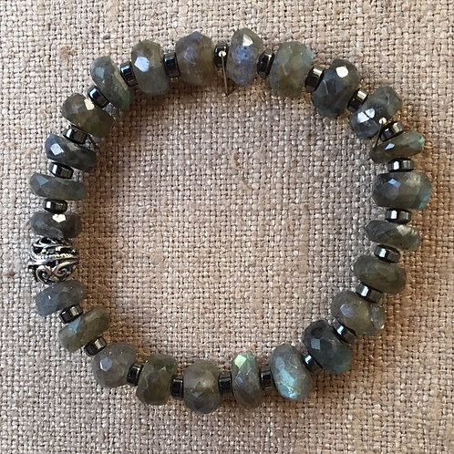 Faceted labradorite and hematite bracelet