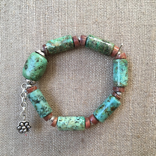 African Turquoise and Pipestone Bracelet