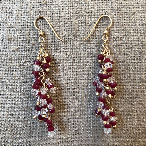 Rubies and crystal earrings