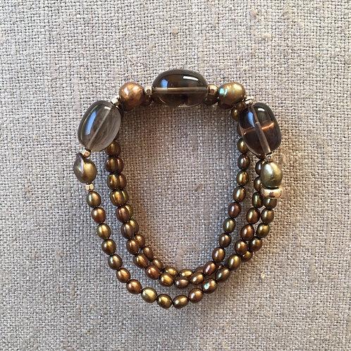 Pearl and smoky quartz wrap bracelet