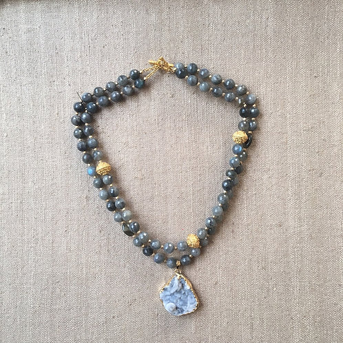 Labradorite double strand with gold beads and druzy pendant