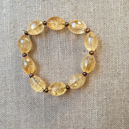 Faceted Citrine and Pearls