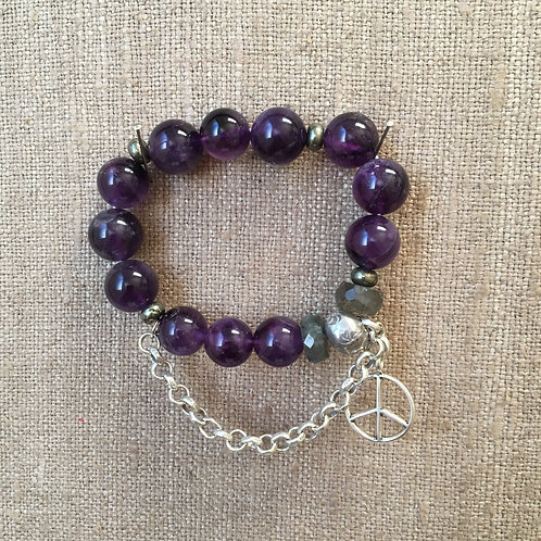 Amethyst, Labradorite, Sterling & Pyrite Bracelet