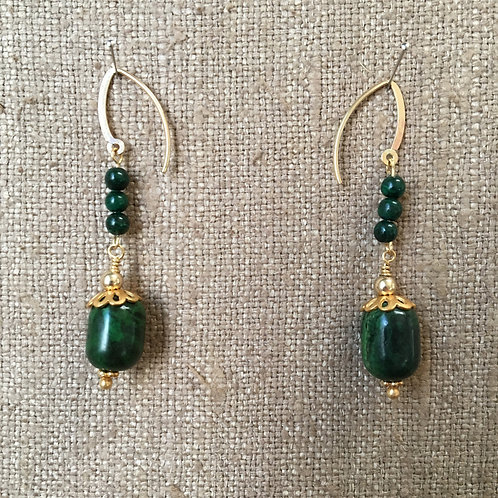 Green Turquoise and Malachite Earring