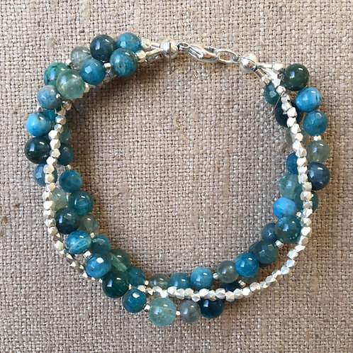 Apatite, agate, chrysocolla and sterling silver bracelet
