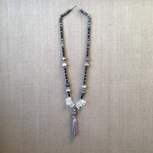 Labradorite, jasper, onyx and quartz necklace