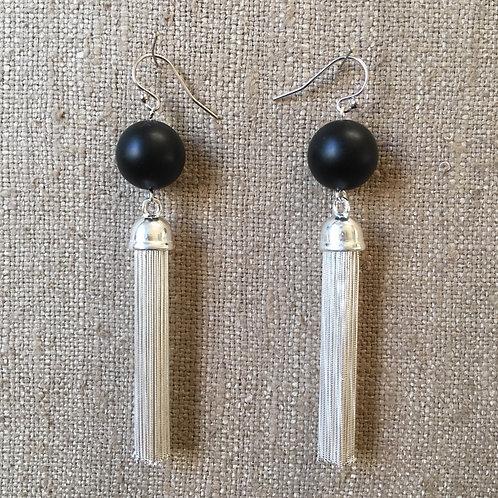 Onyx and sterling silver tassel earrings