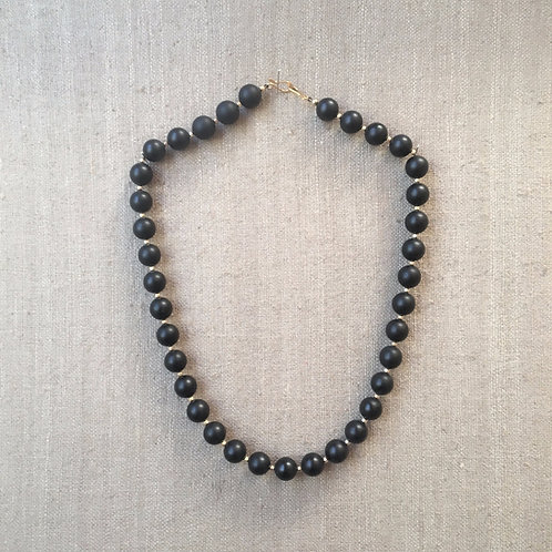 Matte onyx with vermeil spacers necklace