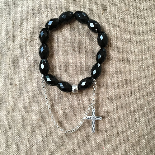 Faceted Black Onyx and Sterling Chain and Charm
