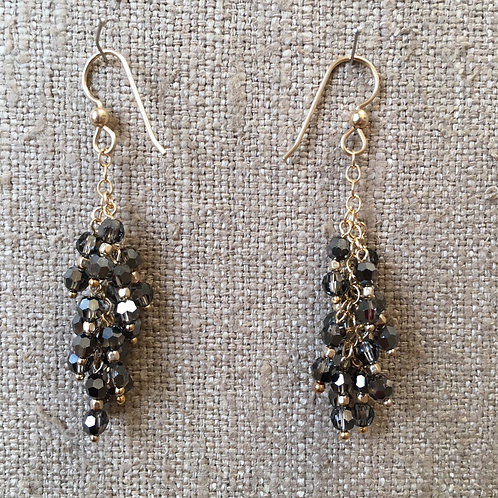 Crystal and pyrite chandelier earrings