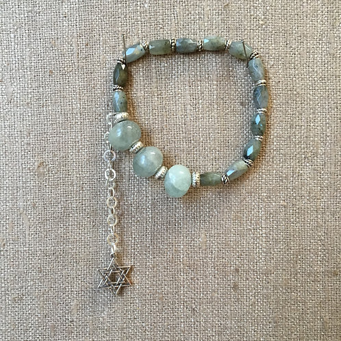 Faceted Labradorite and Aquamarine with Sterling
