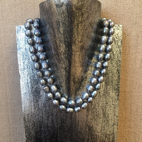 Silver pearl opera length necklace
