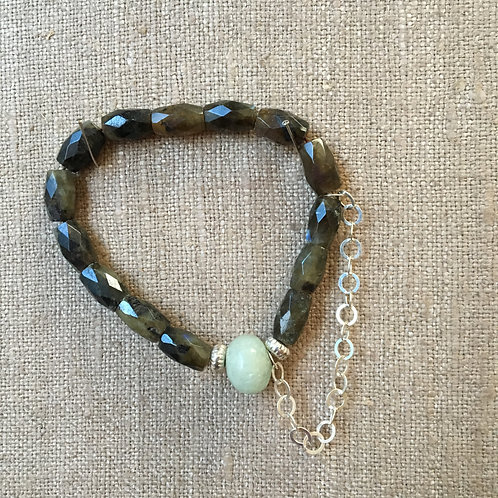 Faceted Labradorite and Aquamarine with Sterling Chain