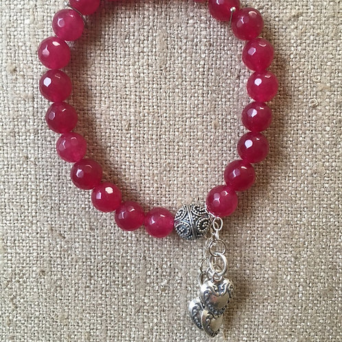 Ruby jade with heart charms