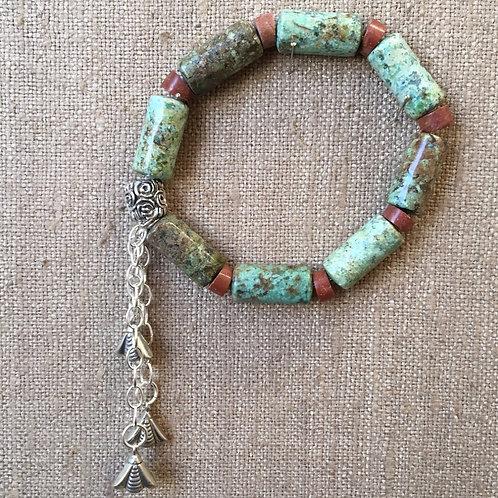 Pipestone and turquoise bracelet