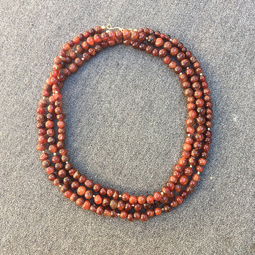Antique African carnelian rope necklace