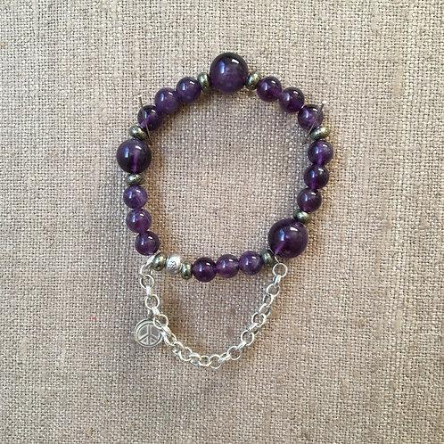 Amethyst, Sterling and Pyrite Bracelet