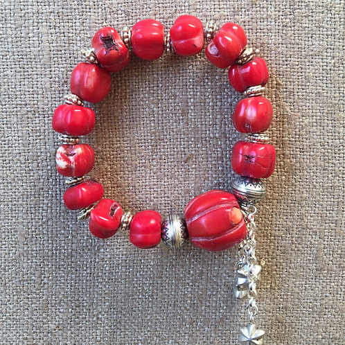 Natural red coral and sterling bracelet