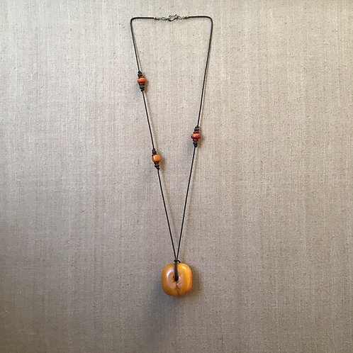 Rare Antique Amber Pendant with Carnelian and Amber