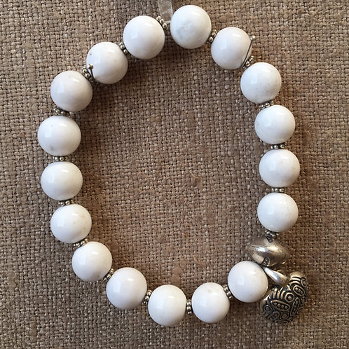 White agate and sterling silver bracelet