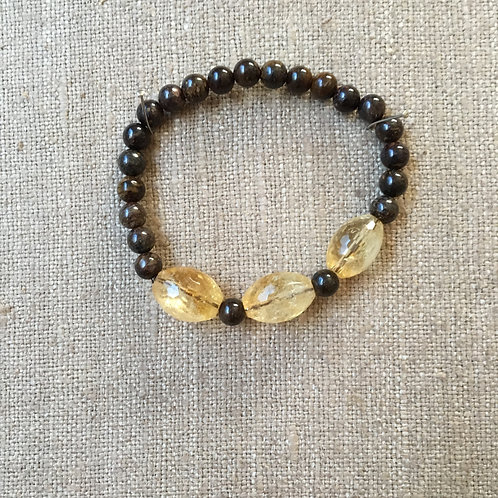 Faceted Citrine with Bronzite