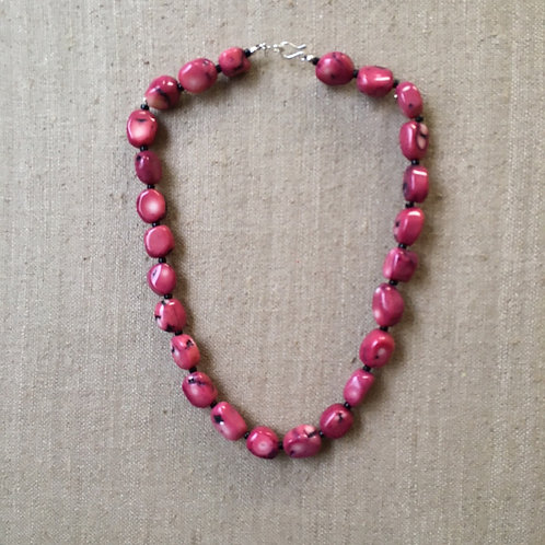 Fuchsia coral necklace