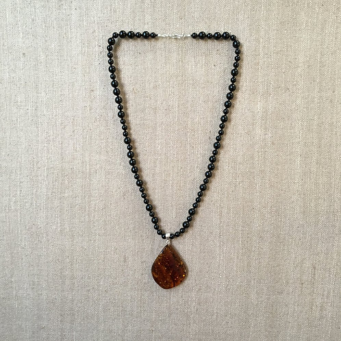 Onyx with Amber and Sterling Pendant