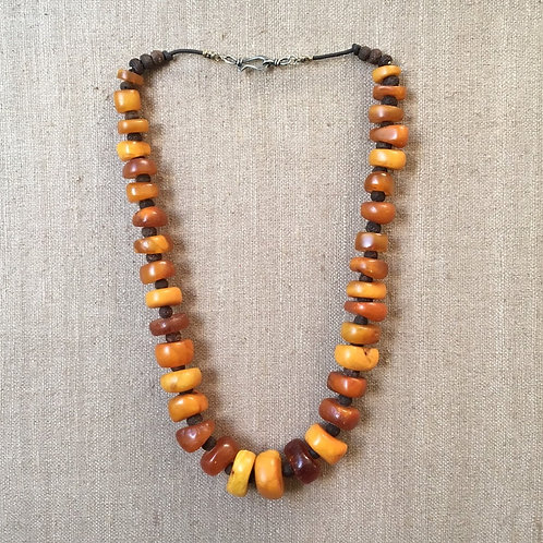 Antique Amber with Bodhi Seed Spacers