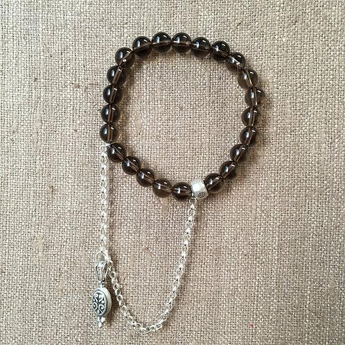 Smoky Quartz and Sterling Silver Bracelet