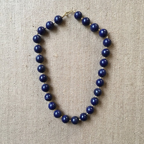 Lapis lazuli necklace with 14K gold clasp