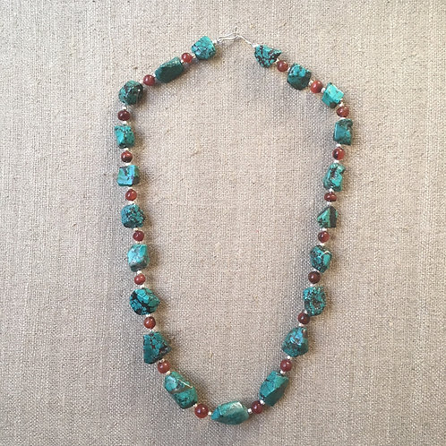 Turquoise and carnelian necklace