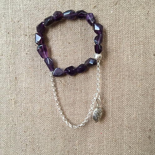 Amethyst with sterling silver chain bracelet