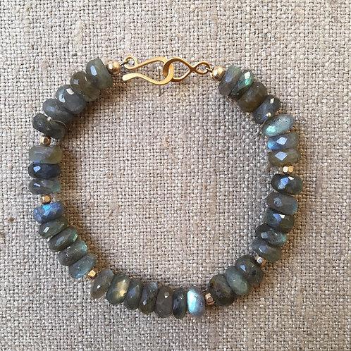 Faceted labradorite and vermeil bracelet
