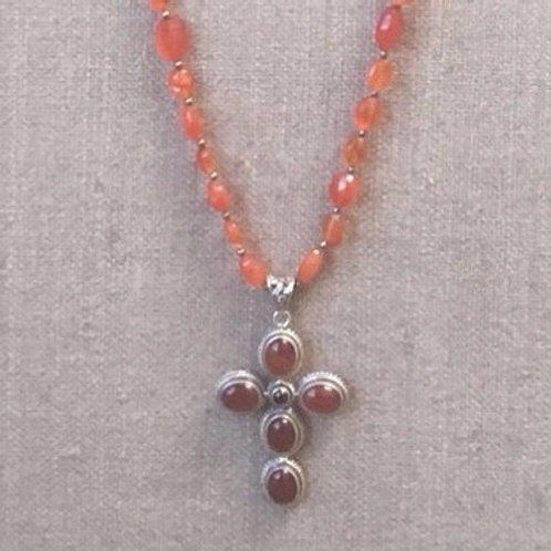 Carnelian necklace with cross