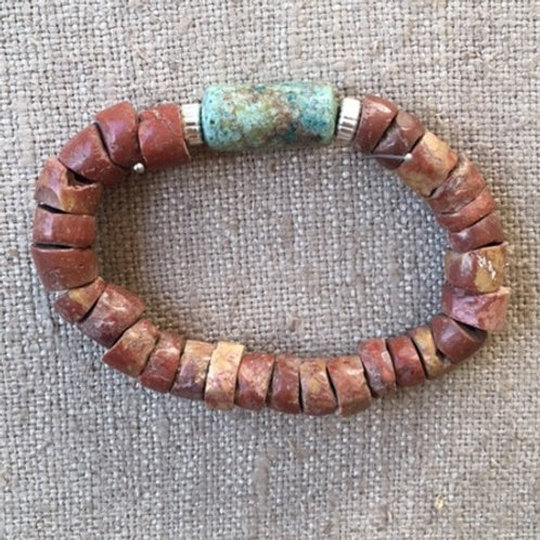 Pipestone with African turquoise bracelet