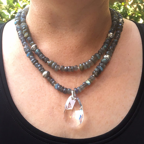 Labradorite and Swarovski crystal necklace