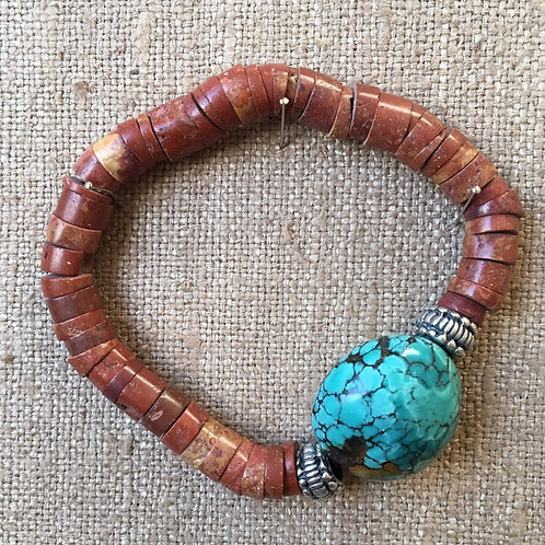 Pipestone and turquoise bracelet
