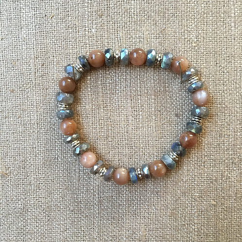 Sandstone, Labradorite and Sterling Bracelet