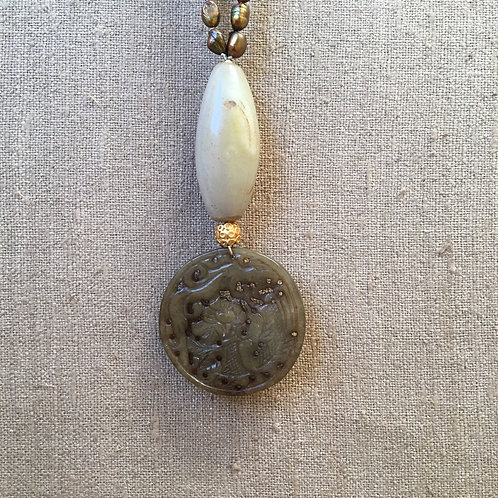 Copper pearl with agate and jade pendant