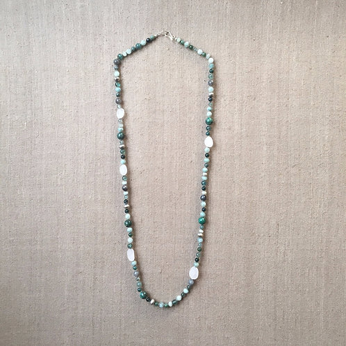 Apatite, aquamarine, labradorite, chrysocolla and quartz necklace