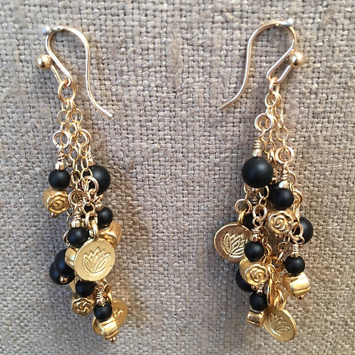 Gold chain and onyx earrings