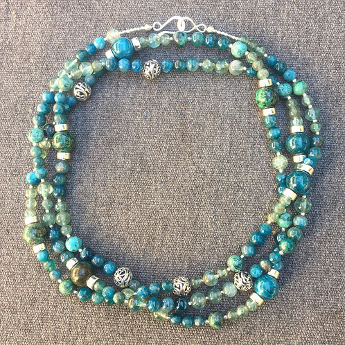 Apatite, chrysocolla and turquoise necklace