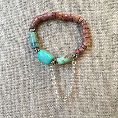 Turquoise, Pipestone and Sterling Bracelet