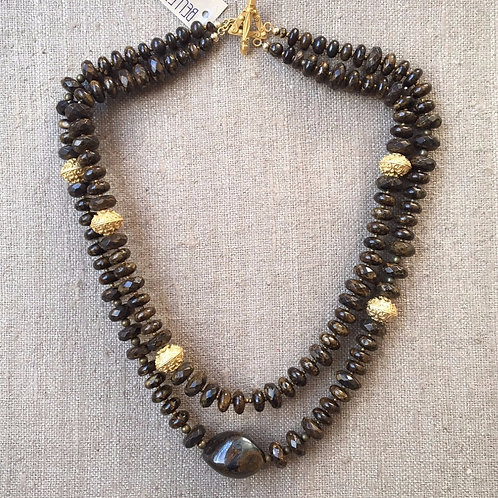 Faceted bronzite double strand necklace