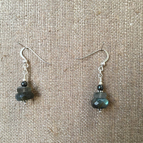 Labradorite Rondelles with Hematite and Sterling Silver