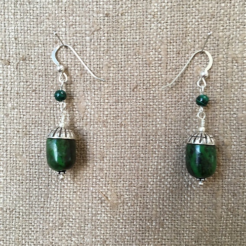 Green Turquoise and Malachite Earring with Sterling