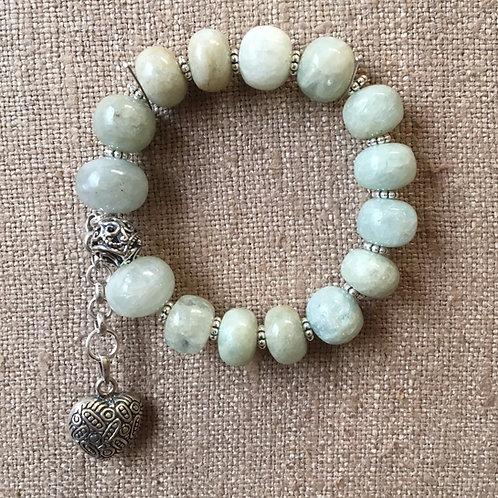 Aquamarine and sterling bracelet