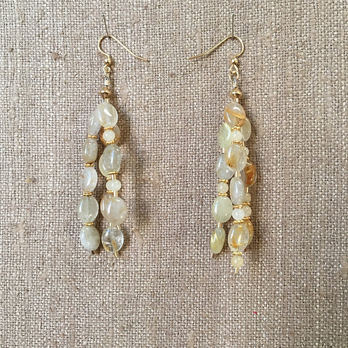 Rutilated Quartz and Vermeil Earrings